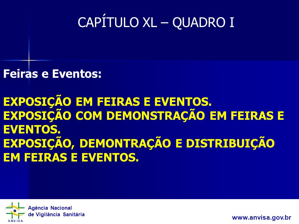 CAPÍTULO XL – QUADRO I Feiras e Eventos: