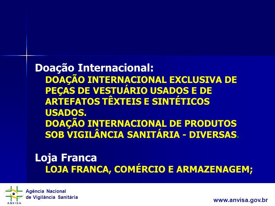 Doação Internacional: DOAÇÃO INTERNACIONAL EXCLUSIVA DE PEÇAS DE VESTUÁRIO USADOS E DE ARTEFATOS TÊXTEIS E SINTÉTICOS USADOS. DOAÇÃO INTERNACIONAL DE PRODUTOS SOB VIGILÂNCIA SANITÁRIA - DIVERSAS. Loja Franca LOJA FRANCA, COMÉRCIO E ARMAZENAGEM;