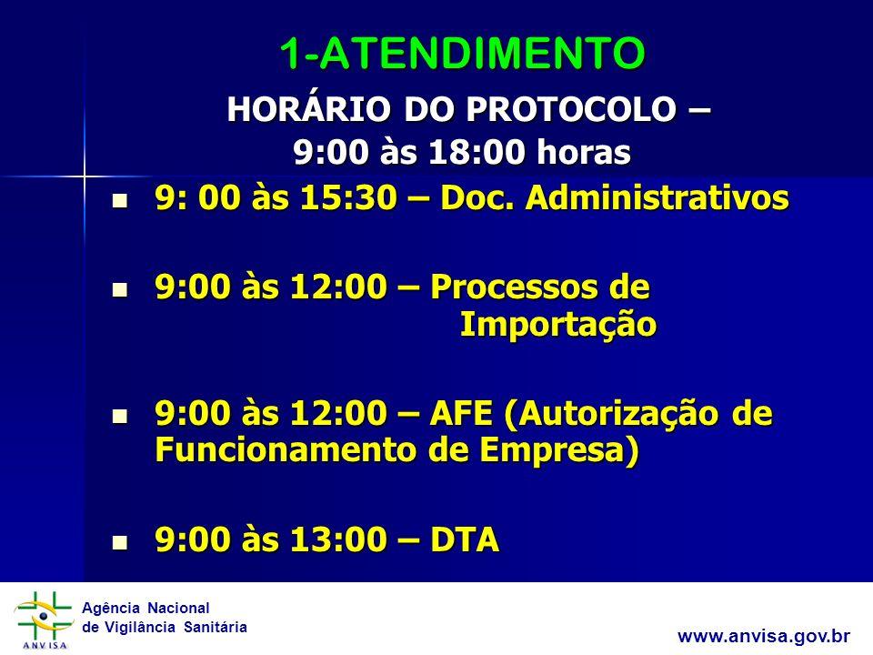 1-ATENDIMENTO HORÁRIO DO PROTOCOLO – 9:00 às 18:00 horas