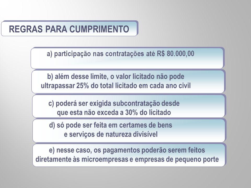 a) participação nas contratações até R$ 80.000,00