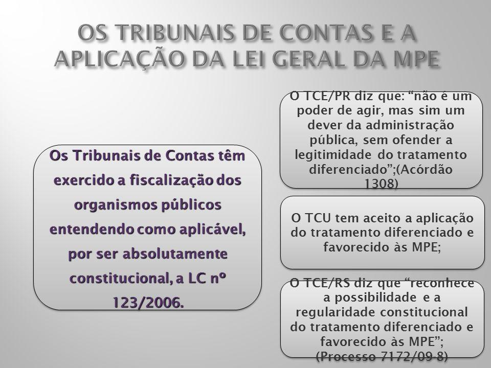 OS TRIBUNAIS DE CONTAS E A APLICAÇÃO DA LEI GERAL DA MPE