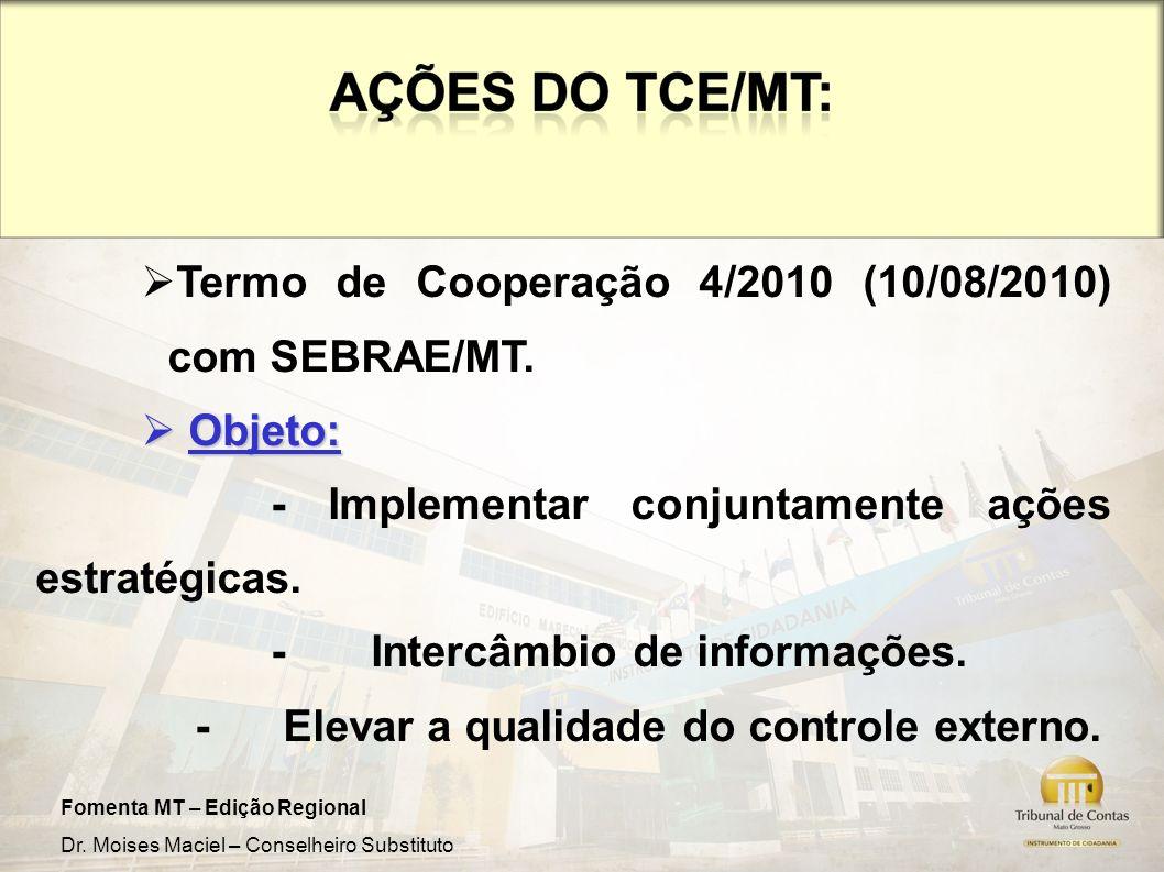Termo de Cooperação 4/2010 (10/08/2010) com SEBRAE/MT.
