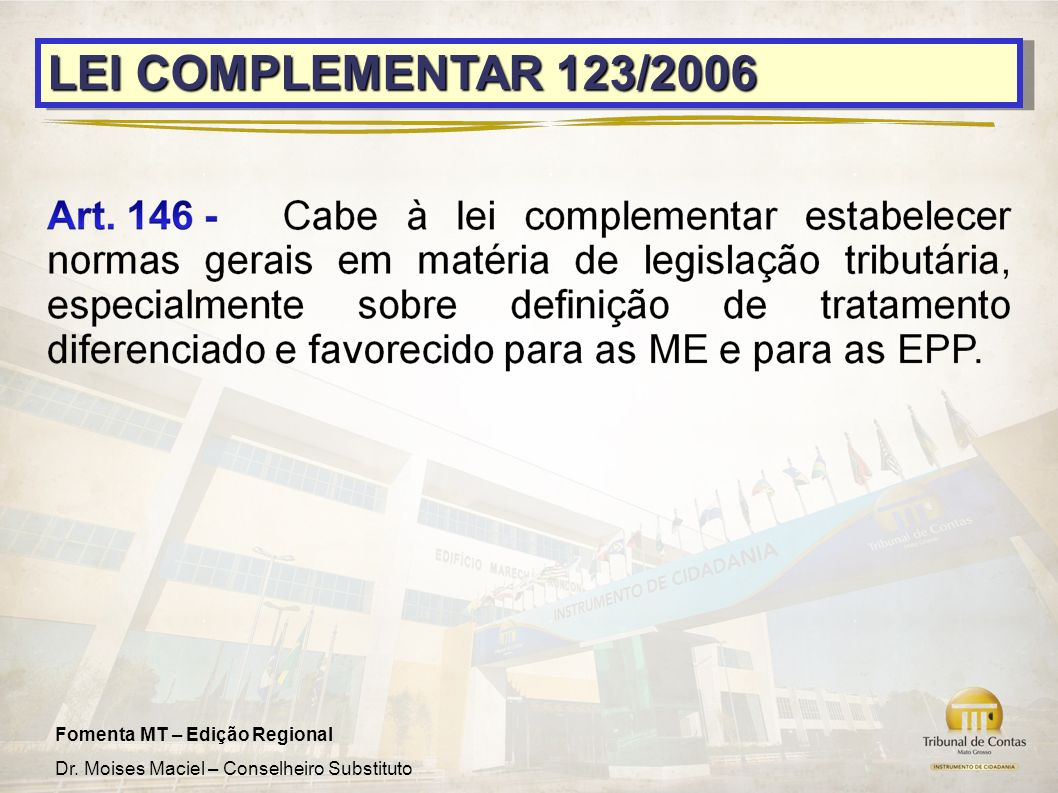 LEI COMPLEMENTAR 123/2006 9 9
