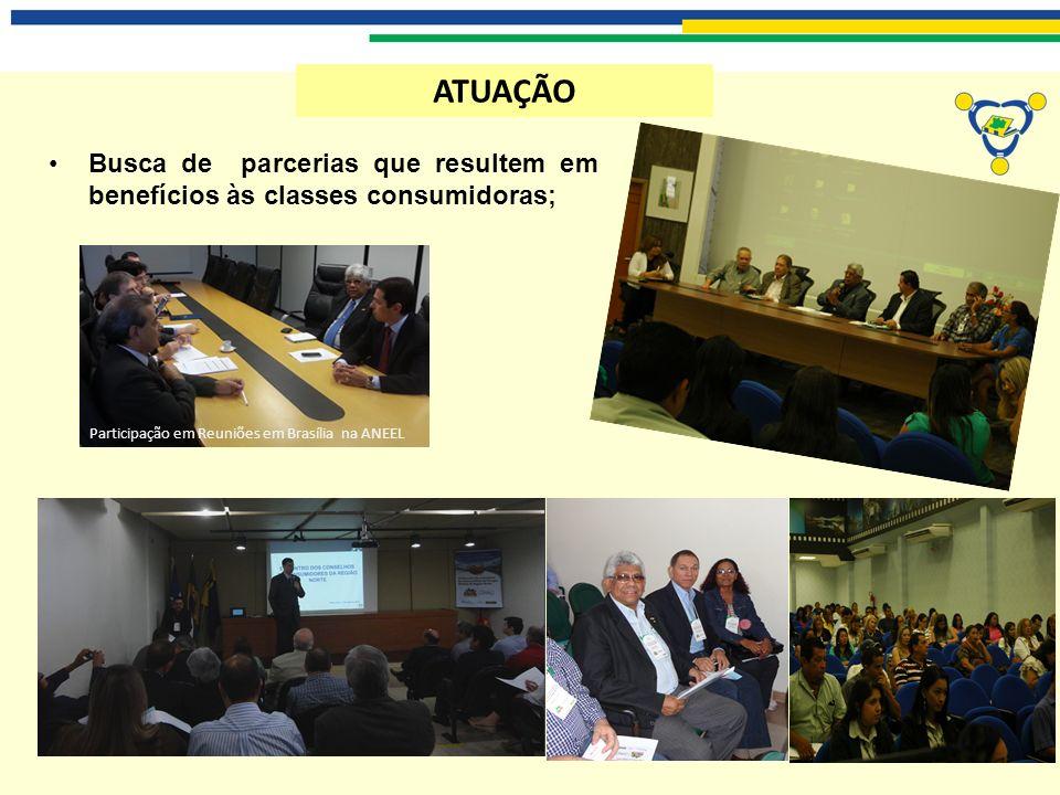 ATUAÇÃO Busca de parcerias que resultem em benefícios às classes consumidoras; Participação em Reuniões em Brasília na ANEEL.