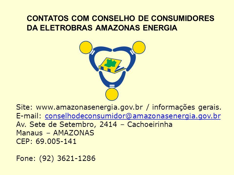 CONTATOS COM CONSELHO DE CONSUMIDORES DA ELETROBRAS AMAZONAS ENERGIA