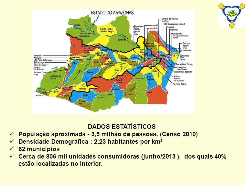 DADOS ESTATÍSTICOS População aproximada - 3,5 milhão de pessoas. (Censo 2010) Densidade Demográfica : 2,23 habitantes por km².