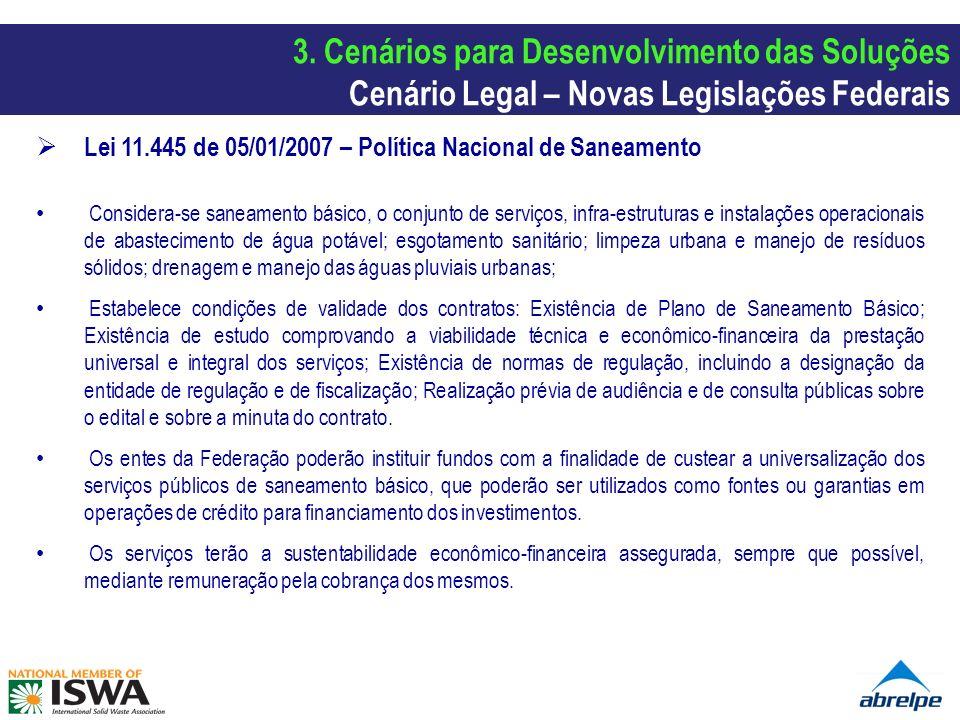 3. Cenários para Desenvolvimento das Soluções Cenário Legal – Novas Legislações Federais