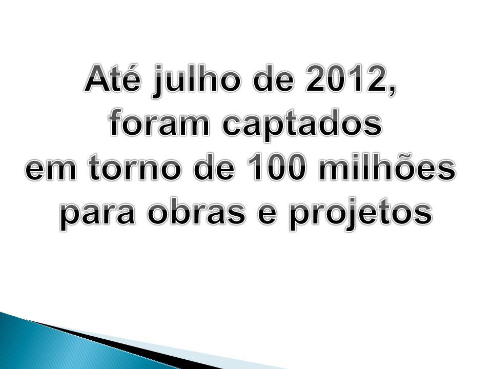 Até julho de 2012, foram captados em torno de 100 milhões para obras e projetos