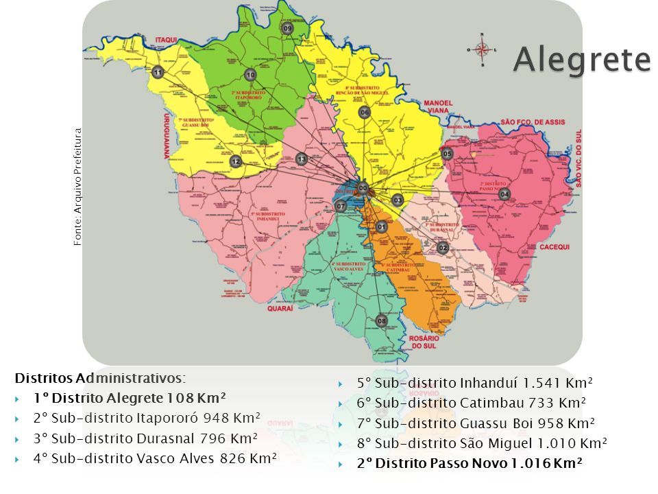 Alegrete Distritos Administrativos: 1º Distrito Alegrete 108 Km²
