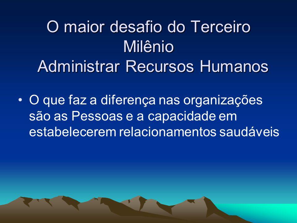 O maior desafio do Terceiro Milênio Administrar Recursos Humanos
