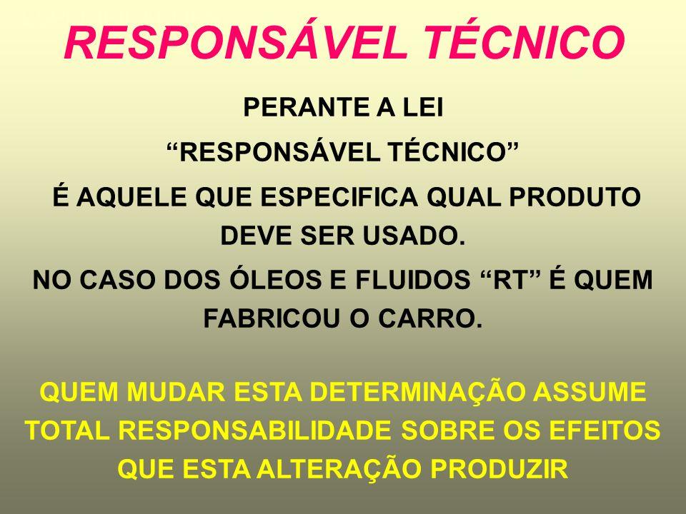 RESPONSÁVEL TÉCNICO PERANTE A LEI RESPONSÁVEL TÉCNICO