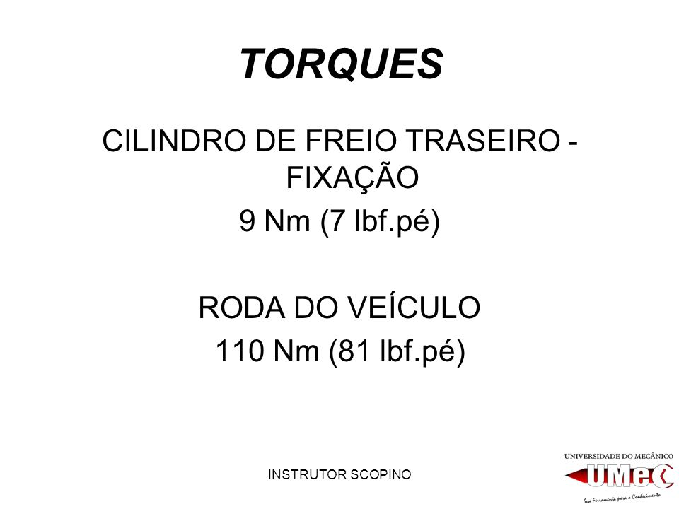 CILINDRO DE FREIO TRASEIRO - FIXAÇÃO