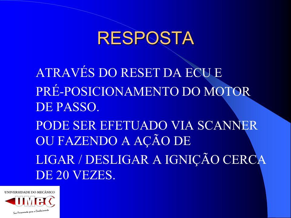 RESPOSTA ATRAVÉS DO RESET DA ECU E
