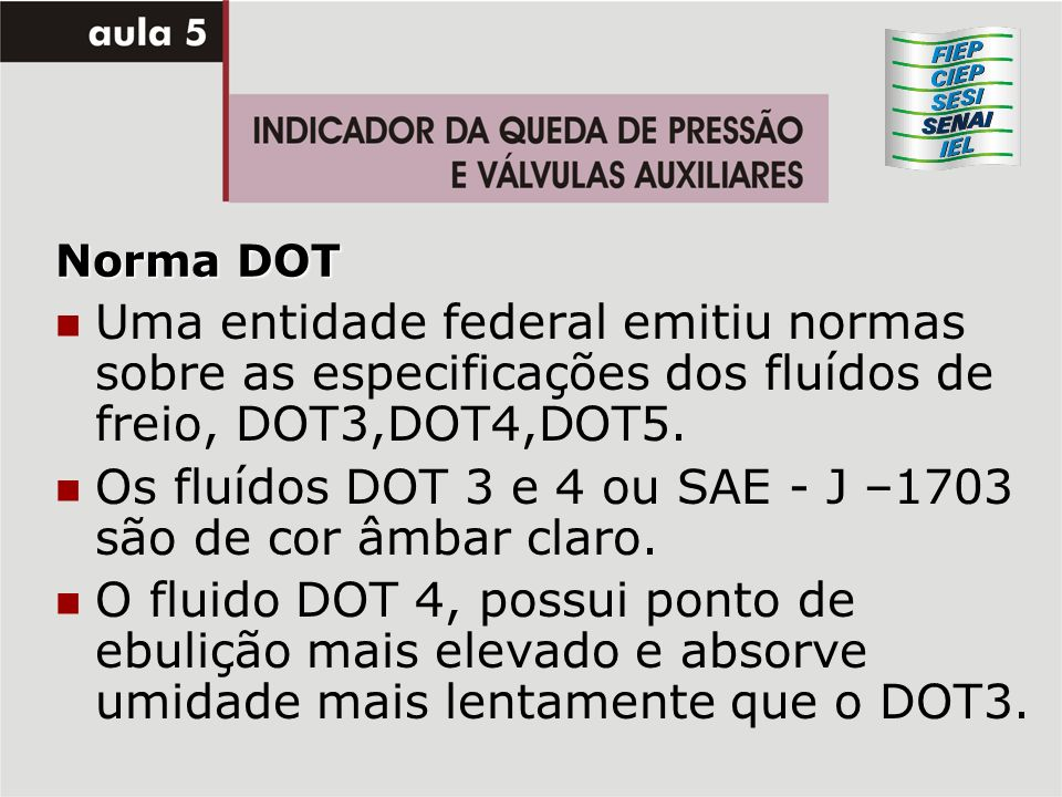 Os fluídos DOT 3 e 4 ou SAE - J –1703 são de cor âmbar claro.