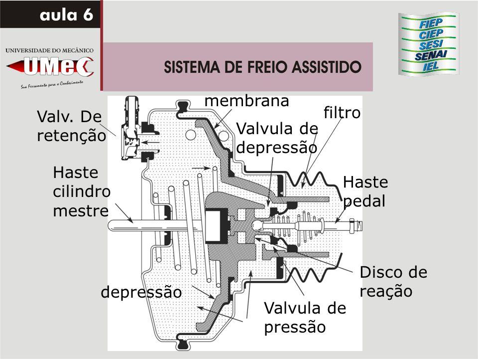 membrana filtro. Valv. De retenção. Valvula de depressão. Haste cilindro mestre. Haste pedal. Disco de reação.