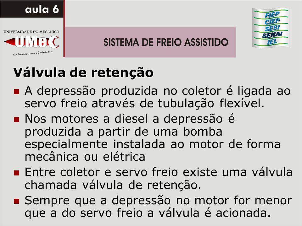 Válvula de retençãoA depressão produzida no coletor é ligada ao servo freio através de tubulação flexível.