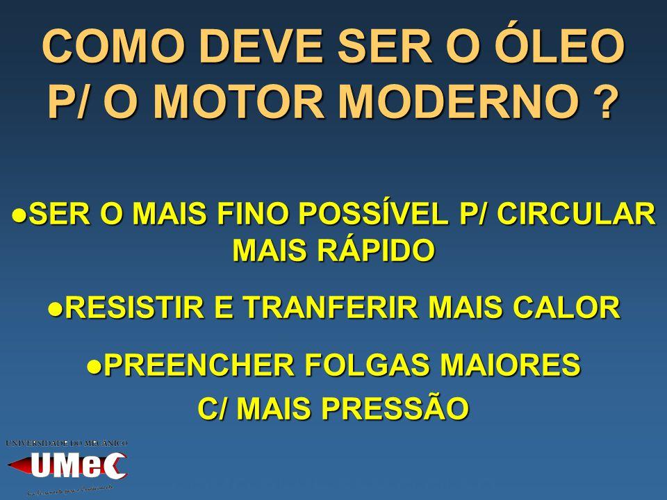 COMO DEVE SER O ÓLEO P/ O MOTOR MODERNO
