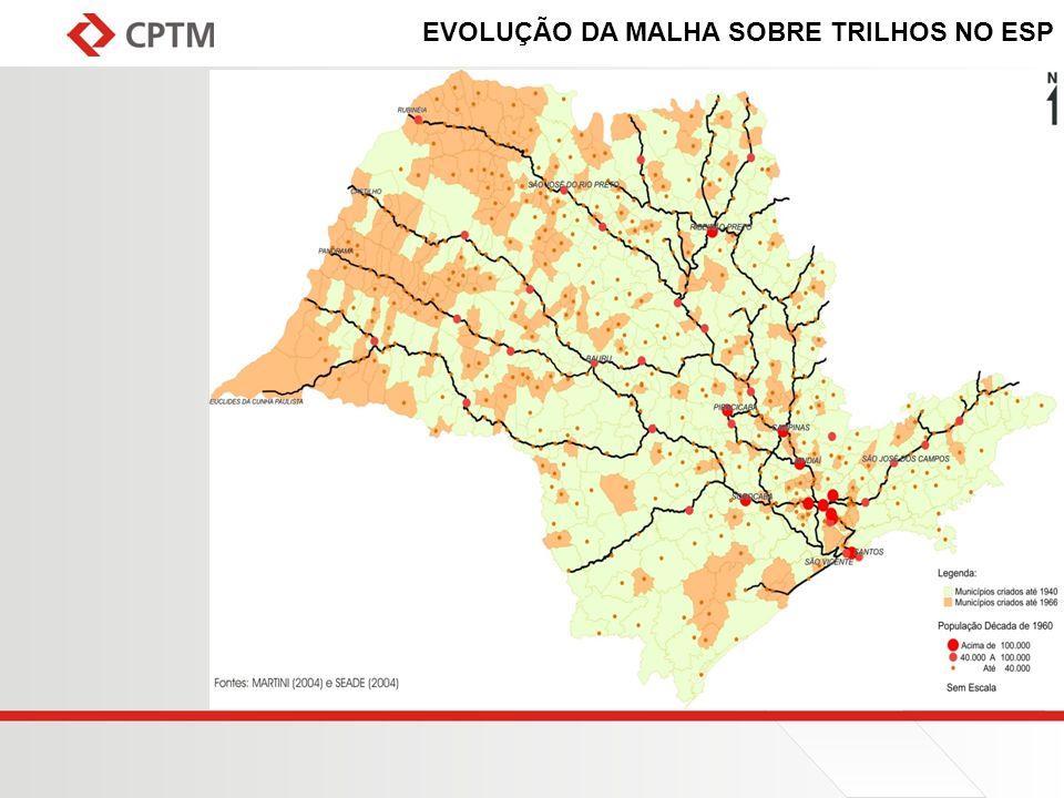 EVOLUÇÃO DA MALHA SOBRE TRILHOS NO ESP