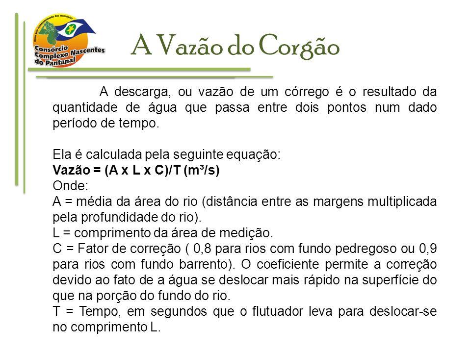 A Vazão do CorgãoA descarga, ou vazão de um córrego é o resultado da quantidade de água que passa entre dois pontos num dado período de tempo.