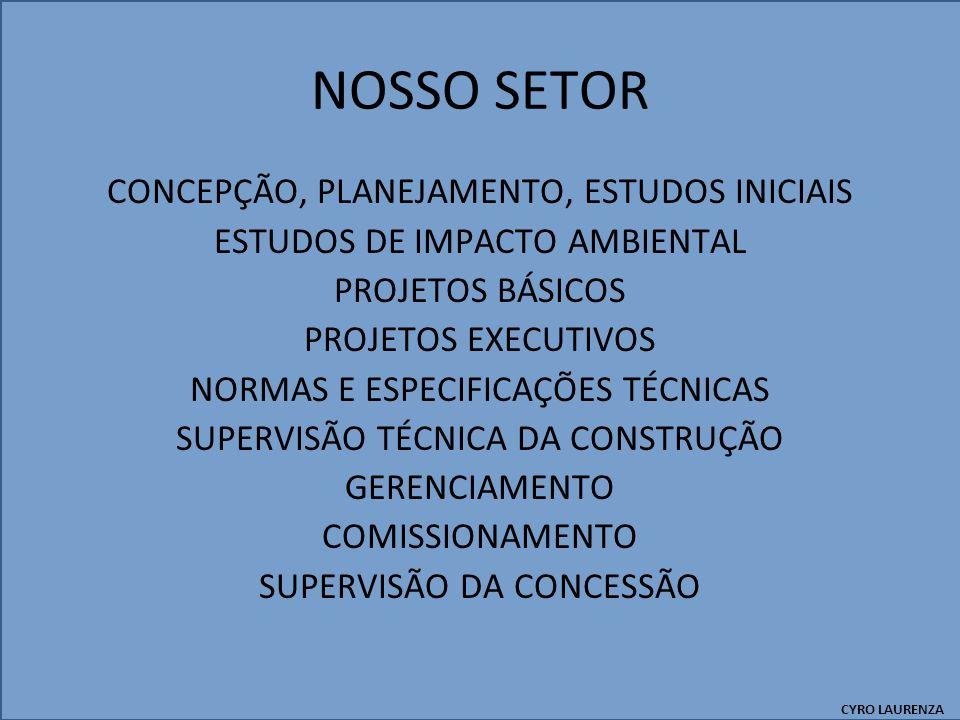 NOSSO SETOR CONCEPÇÃO, PLANEJAMENTO, ESTUDOS INICIAIS