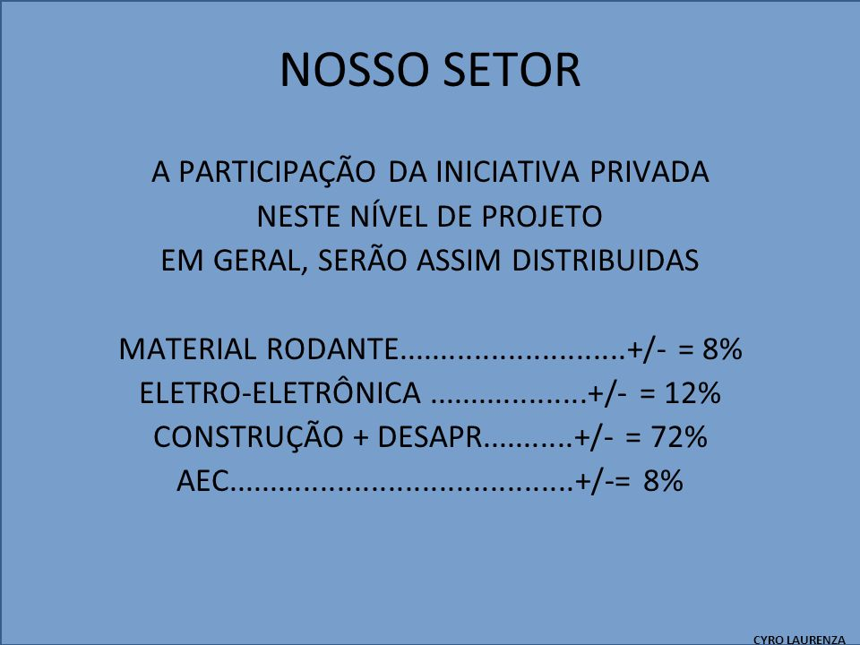 NOSSO SETOR A PARTICIPAÇÃO DA INICIATIVA PRIVADA