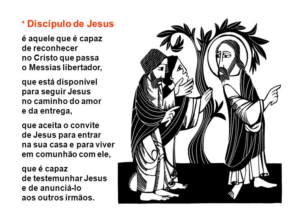 * Discípulo de Jesus é aquele que é capaz de reconhecer. no Cristo que passa o Messias libertador,