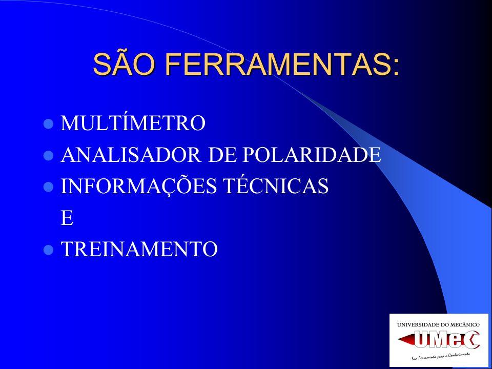 SÃO FERRAMENTAS: MULTÍMETRO ANALISADOR DE POLARIDADE