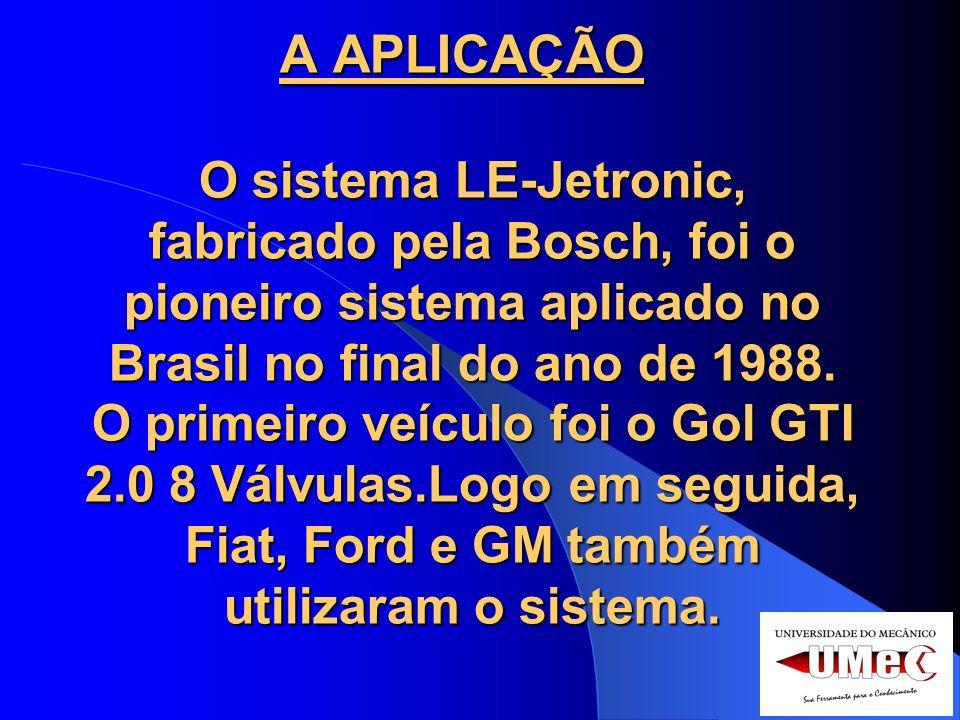 A APLICAÇÃO O sistema LE-Jetronic, fabricado pela Bosch, foi o pioneiro sistema aplicado no Brasil no final do ano de 1988.