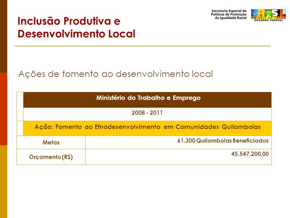 Inclusão Produtiva e Desenvolvimento Local