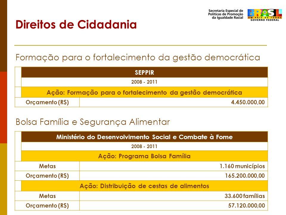 Direitos de Cidadania Formação para o fortalecimento da gestão democrática. SEPPIR. 2008 - 2011.