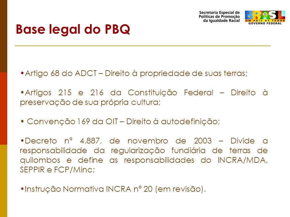 Base legal do PBQ Artigo 68 do ADCT – Direito à propriedade de suas terras;