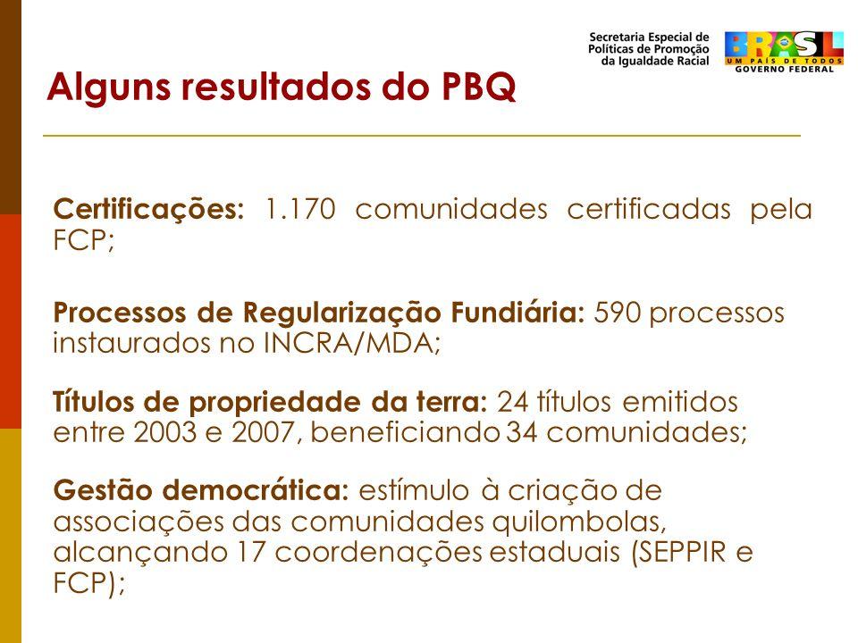 Alguns resultados do PBQ