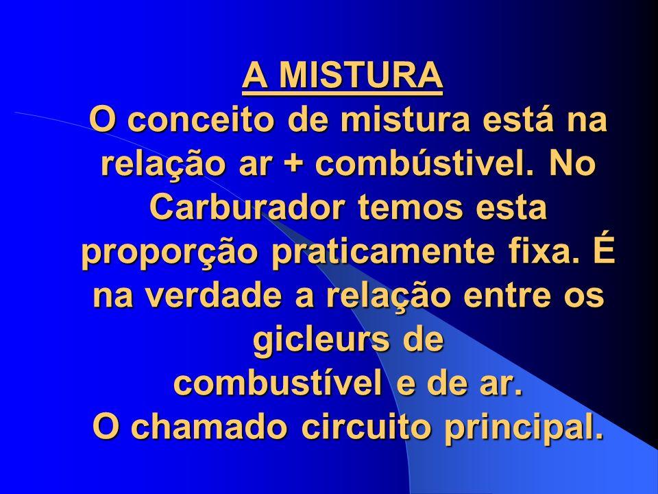 A MISTURA O conceito de mistura está na relação ar + combústivel