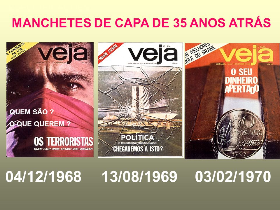 MANCHETES DE CAPA DE 35 ANOS ATRÁS