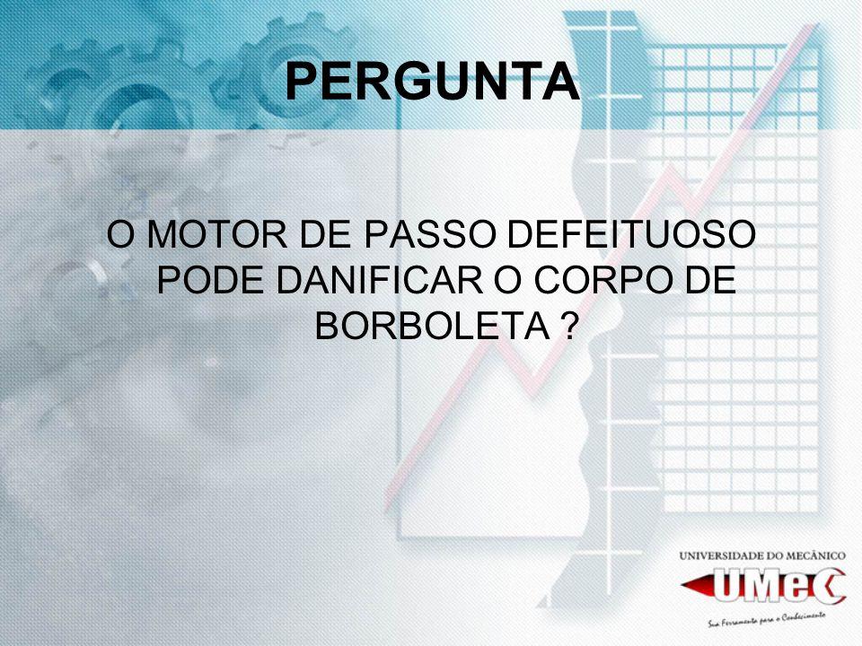 O MOTOR DE PASSO DEFEITUOSO PODE DANIFICAR O CORPO DE BORBOLETA