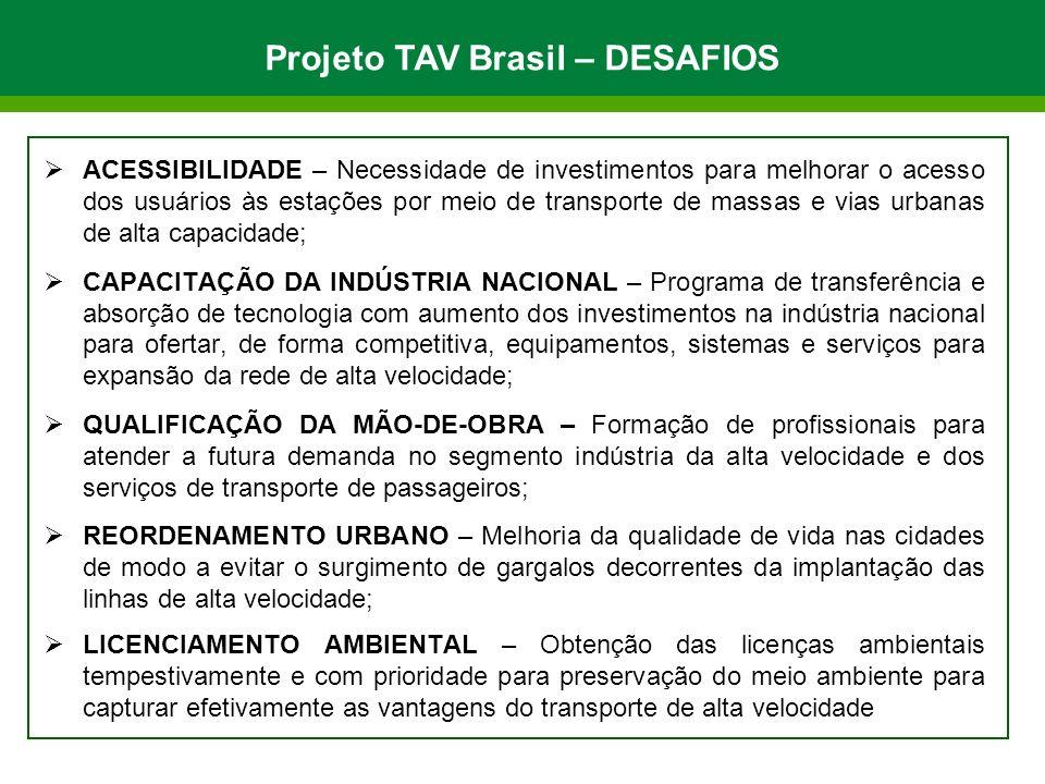 Projeto TAV Brasil – DESAFIOS