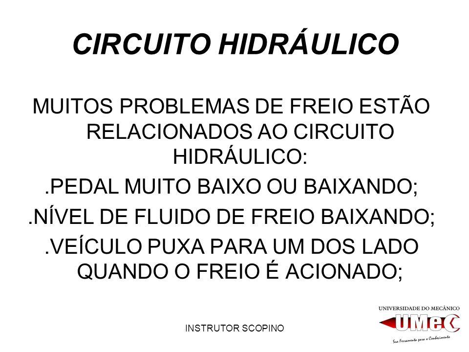 CIRCUITO HIDRÁULICO MUITOS PROBLEMAS DE FREIO ESTÃO RELACIONADOS AO CIRCUITO HIDRÁULICO: .PEDAL MUITO BAIXO OU BAIXANDO;
