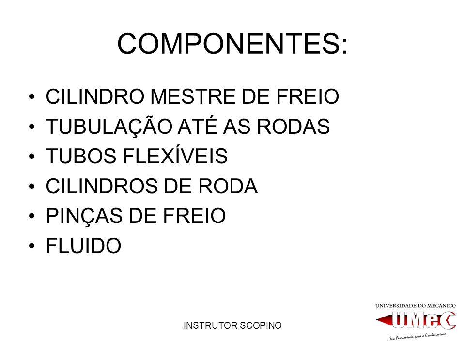 COMPONENTES: CILINDRO MESTRE DE FREIO TUBULAÇÃO ATÉ AS RODAS