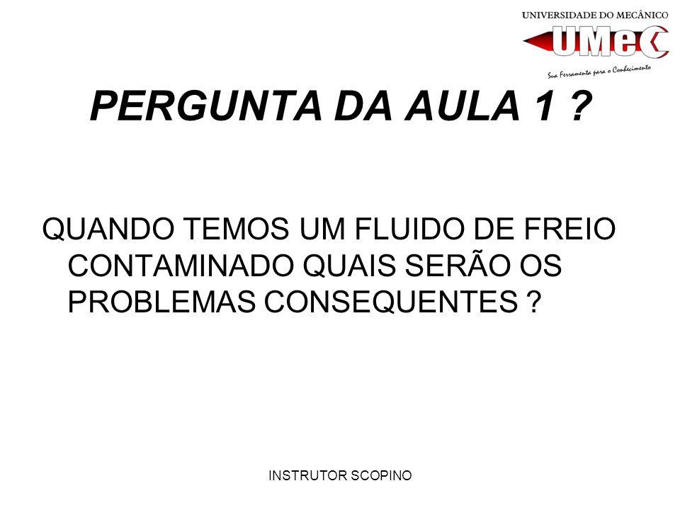 PERGUNTA DA AULA 1 QUANDO TEMOS UM FLUIDO DE FREIO CONTAMINADO QUAIS SERÃO OS PROBLEMAS CONSEQUENTES