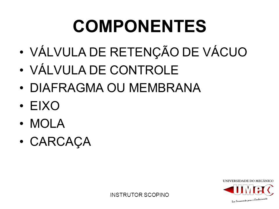 COMPONENTES VÁLVULA DE RETENÇÃO DE VÁCUO VÁLVULA DE CONTROLE
