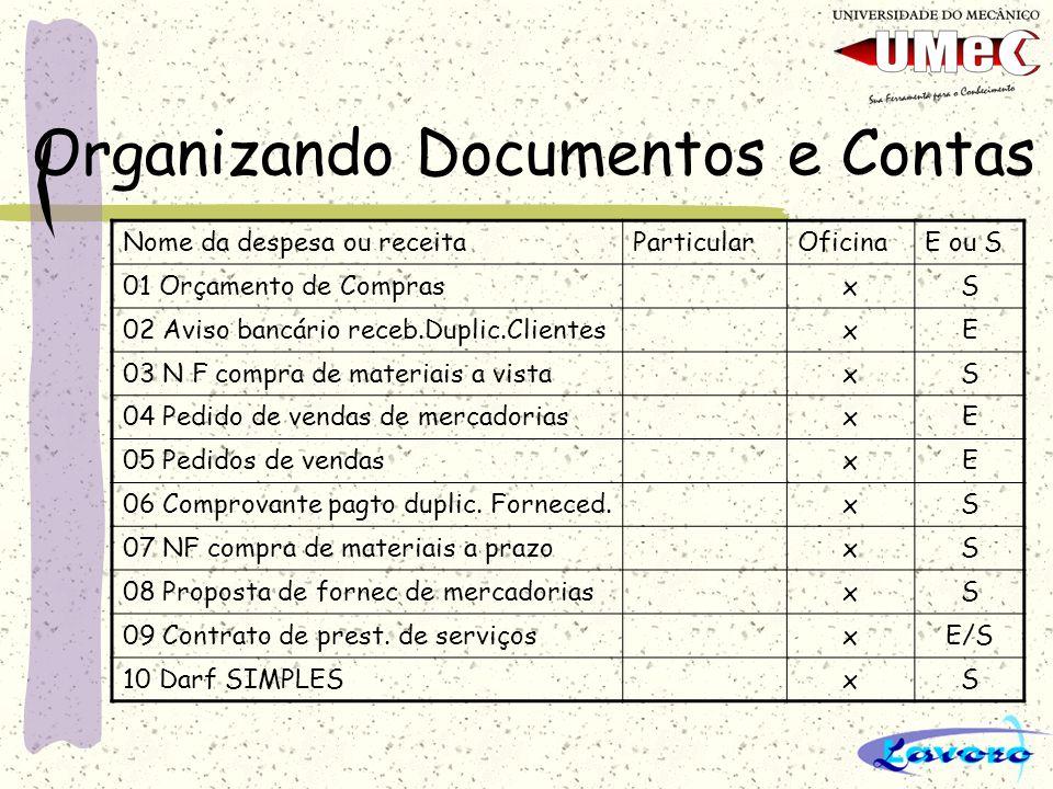 Organizando Documentos e Contas