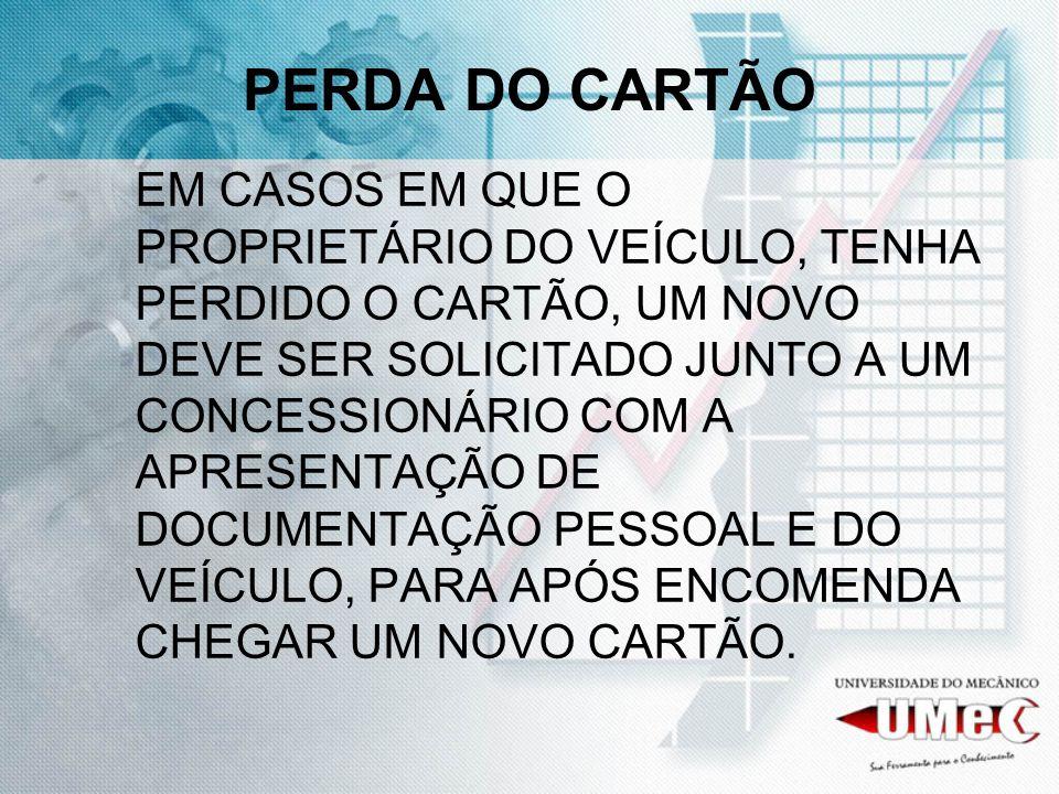 PERDA DO CARTÃO