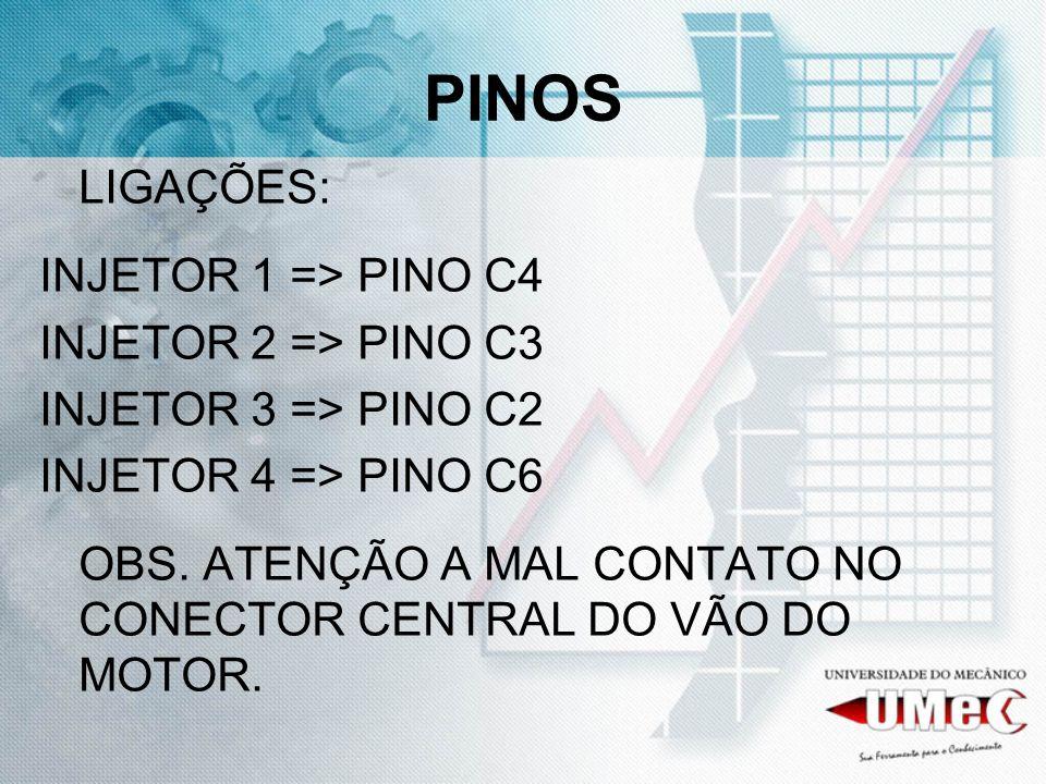 PINOS LIGAÇÕES: INJETOR 1 => PINO C4 INJETOR 2 => PINO C3