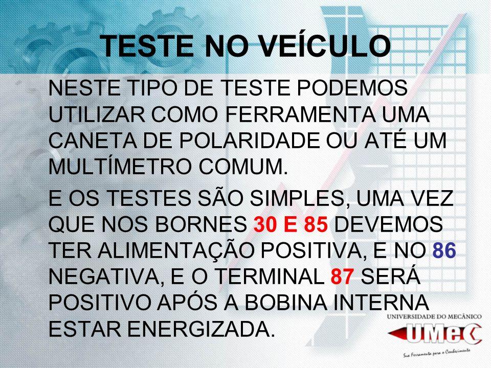 TESTE NO VEÍCULO NESTE TIPO DE TESTE PODEMOS UTILIZAR COMO FERRAMENTA UMA CANETA DE POLARIDADE OU ATÉ UM MULTÍMETRO COMUM.