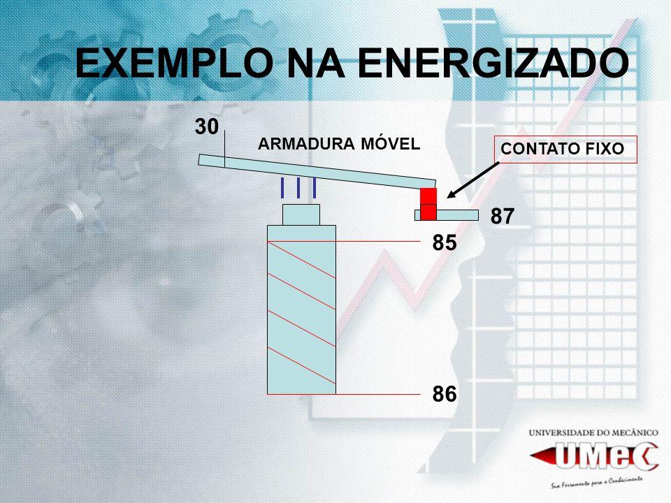 EXEMPLO NA ENERGIZADO 30 ARMADURA MÓVEL CONTATO FIXO 87 85 86