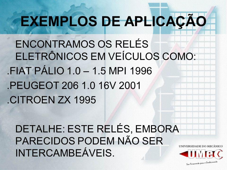 EXEMPLOS DE APLICAÇÃOENCONTRAMOS OS RELÉS ELETRÔNICOS EM VEÍCULOS COMO: .FIAT PÁLIO 1.0 – 1.5 MPI 1996.