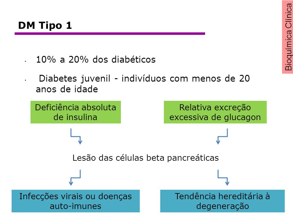 DM Tipo 1 10% a 20% dos diabéticos