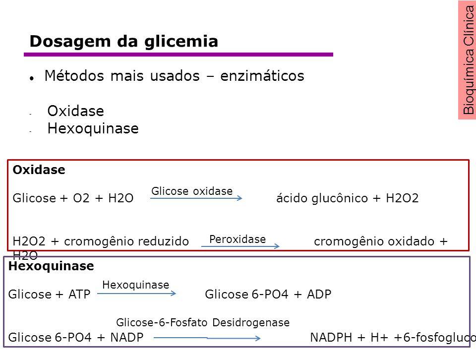 Dosagem da glicemia Métodos mais usados – enzimáticos Oxidase