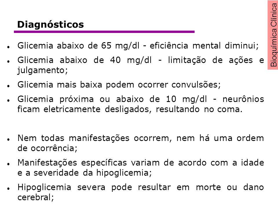 Diagnósticos Glicemia abaixo de 65 mg/dl - eficiência mental diminui;