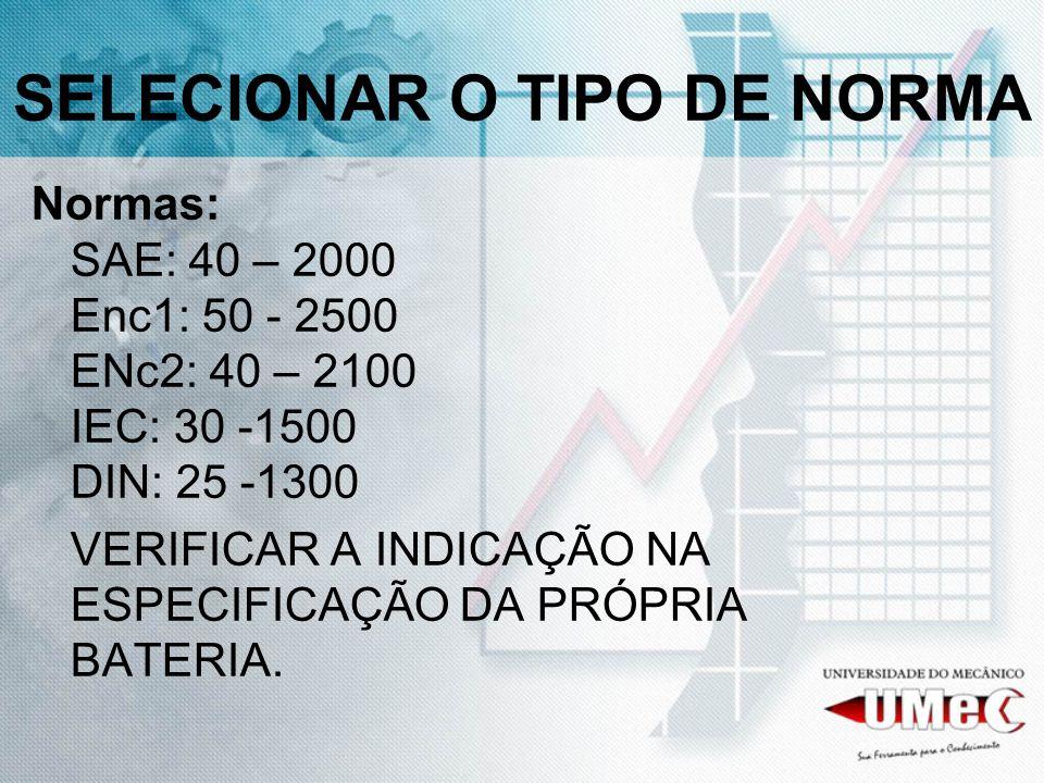 SELECIONAR O TIPO DE NORMA